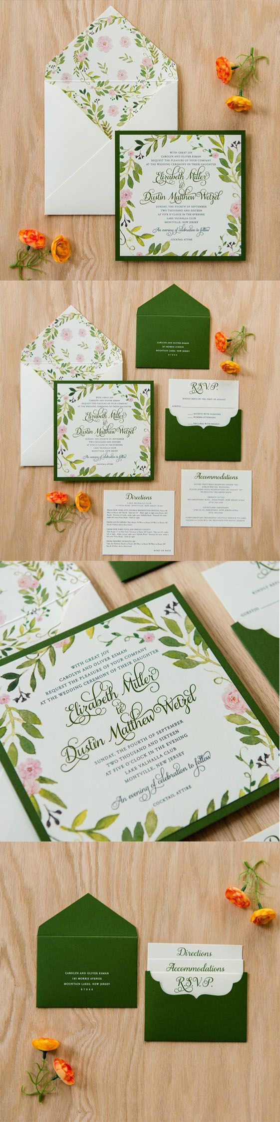Undangan Pernikahan Watercolor Cat Air Undangan Pernikahan