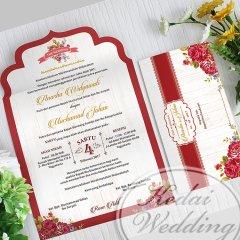 undangan pernikahan model amplop vintage bunga-bunga